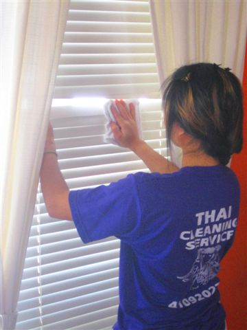 Woman cleaning blinds